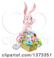 Clipart Of A Happy Pink Easter Bunny With A Basket Of Eggs And Flowers Royalty Free Vector Illustration