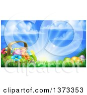 Clipart Of A Basket Of Easter Eggs And Flowers In Grass Against A Sunny Sky Royalty Free Vector Illustration