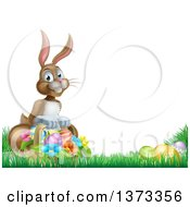 Clipart Of A Happy Brown Easter Bunny With A Basket Of Eggs And Flowers In The Grass With White Text Space Royalty Free Vector Illustration