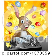 Clipart Of A Happy Brown Easter Bunny Rabbit Dj Over A Turntable Against A Burst Of Objects Royalty Free Vector Illustration