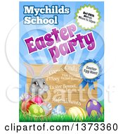 Clipart Of A Gray Easter Bunny With Eggs In The Grass Under Party Text And A Sign Royalty Free Vector Illustration