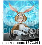 Happy Brown Bunny Rabbit Dj Over A Turntable Against A Dance Floor