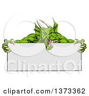 Clipart Of A Roaring Green Horned Dragon Mascot Holding A Blank Sign Royalty Free Vector Illustration