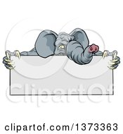 Clipart Of A Clawed Elephant Monster Mascot Holding A Blank Sign Royalty Free Vector Illustration