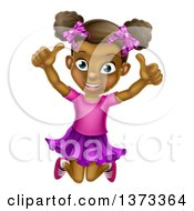 Clipart Of A Cartoon Happy Excited Black Girl Jumping And Giving Two Thumbs Up Royalty Free Vector Illustration by AtStockIllustration