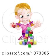 Happy Blond White Girl Playing With Toy Blocks
