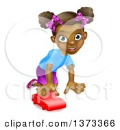 Clipart Of A Happy Black Girl Playing With A Toy Car Royalty Free Vector Illustration by AtStockIllustration