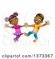 Clipart Of A Happy Black Boy And Girl Dancing Royalty Free Vector Illustration by AtStockIllustration