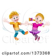 Clipart Of A Happy White Boy And Girl Dancing Royalty Free Vector Illustration by AtStockIllustration