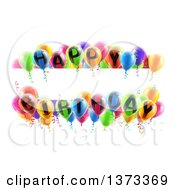 Clipart Of A Blank White Banner Signs Bordered In 3d Colorful Happy Birthday Party Balloons Royalty Free Vector Illustration