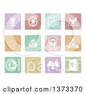 Clipart Of White Christian Icons On Pastel Colorful Tiles With Shadows Royalty Free Vector Illustration by AtStockIllustration