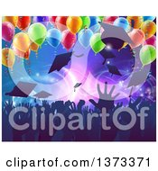 Clipart Of A Crowd Of Silhouetted Graudate Hands Throwing Up Their Mortar Board Caps Under 3d Party Balloons Royalty Free Vector Illustration