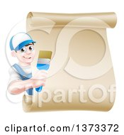 Clipart Of A Happy Brunette White Male House Painter Holding A Brush Around A Scroll Sign Royalty Free Vector Illustration by AtStockIllustration