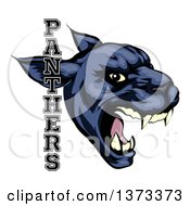 Clipart Of A Tough Roaring Black Panther Mascot Head With Text Royalty Free Vector Illustration