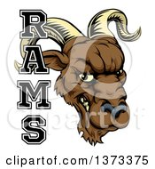 Clipart Of A Snarling Ram Head Mascot With Text Royalty Free Vector Illustration