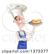 Clipart Of A White Male Chef With A Curling Mustache Holding A Hot Dog On A Platter And Pointing Royalty Free Vector Illustration
