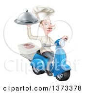 White Male Chef With A Curling Mustache Holding A Cloche And Delivering Pizzas On A Scooter