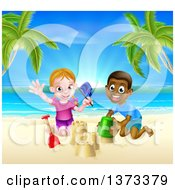 Happy White Girl And Black Boy Playing And Making Sand Castles On A Tropical Beach