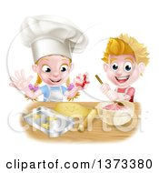 Clipart Of A Cartoon Happy White Girl And Boy Making Frosting And Star Shaped Cookies Royalty Free Vector Illustration by AtStockIllustration