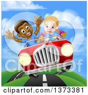 Clipart Of A Happy White Girl Driving A Red Convertible Car And A Black Boy Holding His Arms Up In The Passenger Seat As They Catch Air Royalty Free Vector Illustration by AtStockIllustration