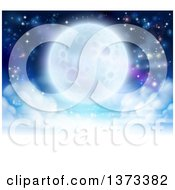 Clipart Of A Full Moon Glowing In A Night Sky Over A Layer Of Clouds Royalty Free Vector Illustration