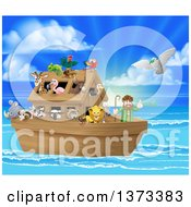 Clipart Of A Christian Bible Story Scene Of Noah On His Ark With The White Dove Returning With The Olive Branch Royalty Free Vector Illustration by AtStockIllustration