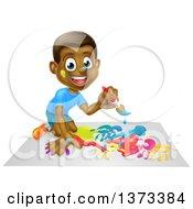 Poster, Art Print Of Cartoon Happy Black Boy Kneeling And Painting Artwork
