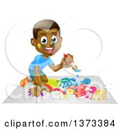 Clipart Of A Cartoon Happy Black Boy Kneeling And Painting Artwork Royalty Free Vector Illustration by AtStockIllustration