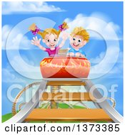 Clipart Of A Happy White Boy And Girl At The Top Of A Roller Coaster Ride Against A Blue Sky With Clouds Royalty Free Vector Illustration