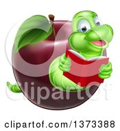 Clipart Of A Cartoon Happy Green Book Worm Reading And Emerging From A Red Apple Royalty Free Vector Illustration