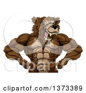 Clipart Of A Fierce Buff Muscular Grizzly Bear Man Flexing His Muscles From The Waist Up Royalty Free Vector Illustration