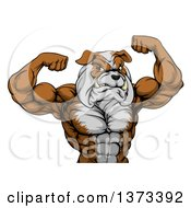 Clipart Of A Muscular Bulldog Man Mascot Flexing From The Waist Up Royalty Free Vector Illustration by AtStockIllustration