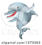 Clipart Of A Happy Cute Dolphin Royalty Free Vector Illustration by AtStockIllustration