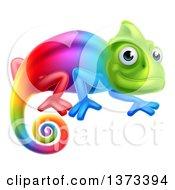Clipart Of A Happy Rainbow Chameleon Lizard Royalty Free Vector Illustration by AtStockIllustration