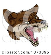 Clipart Of A Coyote Mascot Head Howling Royalty Free Vector Illustration by AtStockIllustration