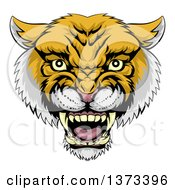 Clipart Of A Fierce Wildcat Mascot Head Roaring Royalty Free Vector Illustration by AtStockIllustration