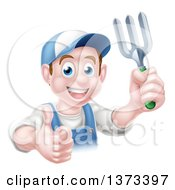 Clipart Of A Happy Young Brunette White Male Gardener In Blue Holding A Garden Fork And Thumb Up Over A Sign Royalty Free Vector Illustration