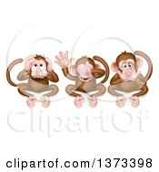 Clipart Of The Three Wise Monkeys Covering Their Ears Eyes And Mouth Hear No Evil See No Evil Speak No Evil Royalty Free Vector Illustration by AtStockIllustration