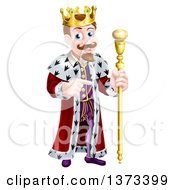 Clipart Of A Brunette White King Holding A Scepter And Pointing To The Right Royalty Free Vector Illustration by AtStockIllustration