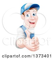 Clipart Of A Happy Middle Aged Brunette Caucasian Mechanic Man In Blue Wearing A Baseball Cap Giving A Thumb Up Around A Sign Royalty Free Vector Illustrationz by AtStockIllustration