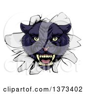 Clipart Of A Fierce Black Panther Breaking Through A Wall Royalty Free Vector Illustration by AtStockIllustration