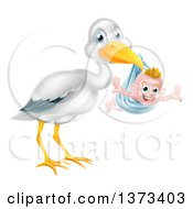 Stork Bird Holding A Happy Baby Boy In A Blue Bundle