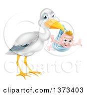 Stork Bird Holding A Happy Baby Boy In A Blue Bundle