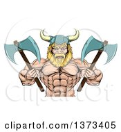 Clipart Of A Cartoon Tough Muscular Blond Male Viking Warrior Holding Axes From The Waist Up Royalty Free Vector Illustration by AtStockIllustration