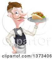 Cartoon Caucasian Male Waiter With A Curling Mustache Holding A Kebab Sandwich On A Tray