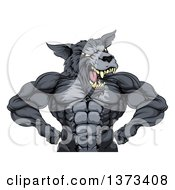 Clipart Of A Firece Muscular Gray Wolf Man Mascot Flexing From The Waist Up Royalty Free Vector Illustration