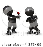 Clipart Of A 3d Black Man Giving A Woman A Rose As She Gestures A Heart On A White Background Royalty Free Illustration