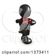 Clipart Of A 3d Black Man Holding A Love Heart On A White Background Royalty Free Illustration