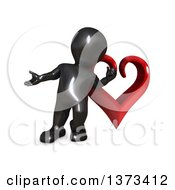 Clipart Of A 3d Black Man Presenting And Leaning Against A Love Heart On A White Background Royalty Free Illustration
