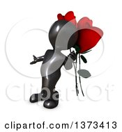 3d Black Man Leaning Against Giant Roses On A White Background